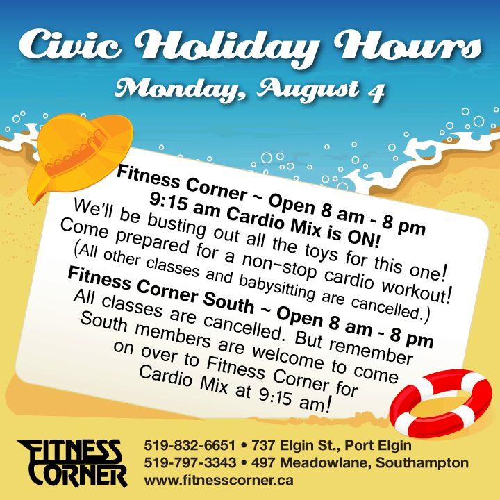 fitness corner - civic holiday hours