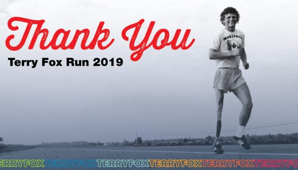 Terry Fox Run Thank You